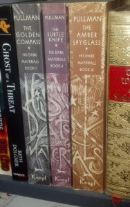 See? It spells His Dark Materials on the spines!